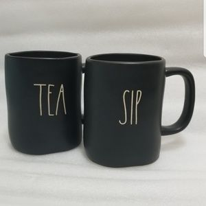 Rae Dunn 2 black mug bundle